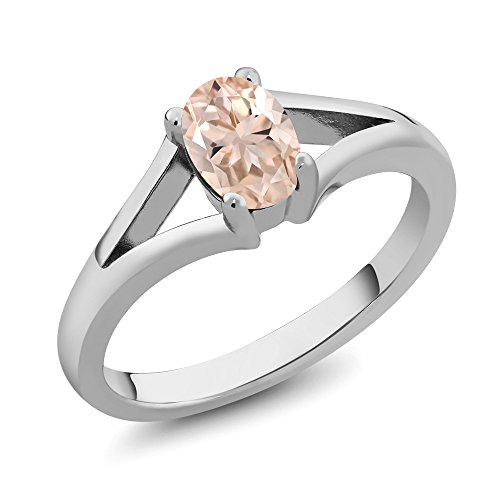 Gem Stone King 0.65 Ct Oval Peach Morganite 925 Sterling Silver Ring (Size - Peach Gem Natural Oval