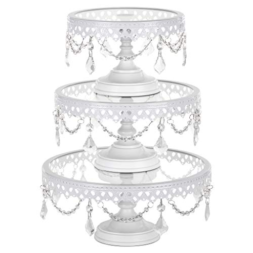 Victoria White Cake Stand Set of 3, Round Glass Plate Metal Dessert Cupcake Pedestal Wedding Party Display with Crystals ()