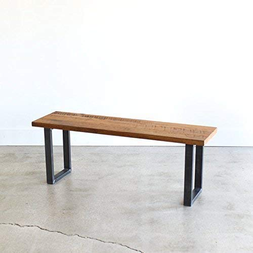 Excellent Amazon Com Industrial Modern Reclaimed Wood Bench U Shaped Gmtry Best Dining Table And Chair Ideas Images Gmtryco