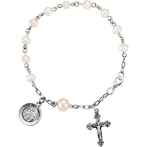 Rosary Freshwater Pearl Bracelet (Sterling Silver First Holy Communion Freshwater Cultured Pearl Rosary Bracelet)