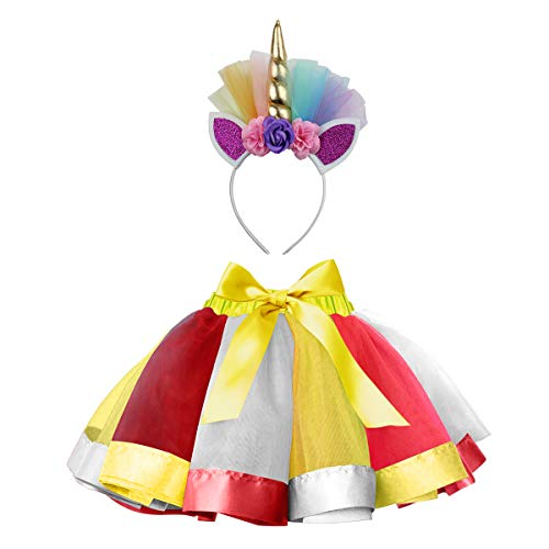 Sparkling Unicorn Tutu Skirt and Unicorn Headband Outfit for Girls 2T, 3T,4T,5T,6T,7T Birthday Party Costumes Set (L,4T-7T, Gold) ()