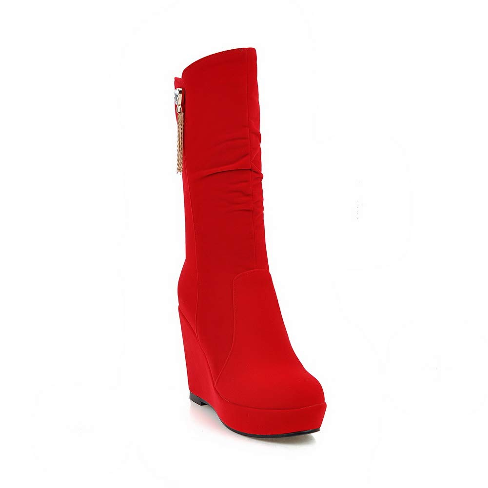 AN DKU02542 Damen Durchgängies Plateau Sandalen mit Keilabsatz Rot - rot - Größe  37
