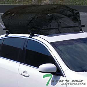 "Topline Autopart 55"" Universal Black Adjustable Aluminum Window Frame Roof Rack Cross Bars Kit + Cargo Carrier Waterproof Utility Bag"