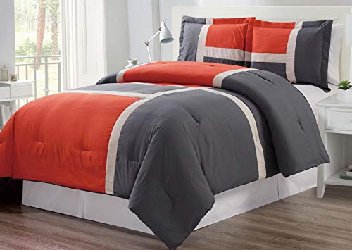(Hemau 3 Piece Orange/Dark Grey/White Goose Down Alternative Color Panel Oversize Comforter Set, Cal King Size Microfiber Bedding, Includes 1 Oversize Comforter and 2 Sha | Style 503194645)