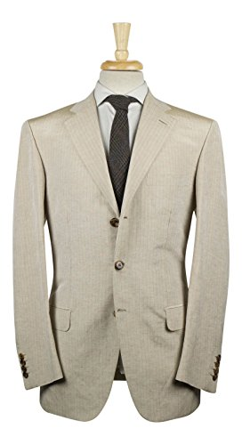 brioni Chigi Wheat Brown Striped Linen Blend 3/2 Button Suit 50/40 R (Brioni Linen Suit)