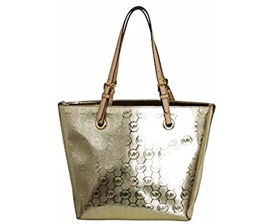 8f0a2bf4cc Amazon.com  Michael Kors Jet Set MK Logo Mirror Metallic Medium Tote Purse  Handbag in Pale Gold  Shoes