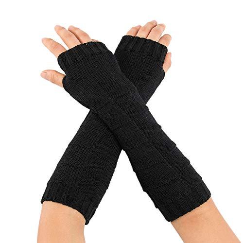 Esharing Women's Sunscreen Winderproof Warm Wrist Cover, Knit Stretch Fingerless Long Arm Gloves Riding Runing Driving Mitten ()