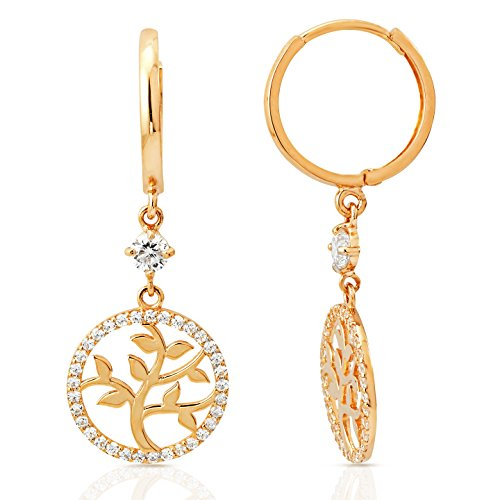 Tree of Life Halo Dangling Earring in 14K Yellow Gold by Jewel Connection