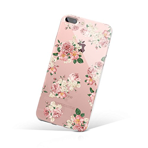 iPhone 8 Plus Case, Cover iPhone 7 Plus, MERCDON Bouquet of Love Floral Printed Flower Pattern Clear Design Hard with TPU Bumper Case Cover for iPhone 7 Plus (2016) / iPhone 8 Plus (2017)