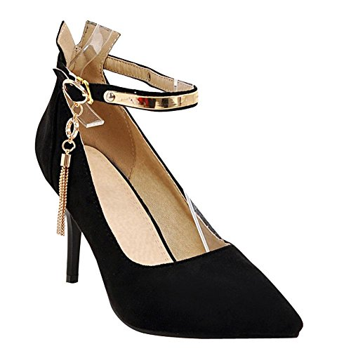 Carolbar Womens-sangle Bout Pointu Talons Hauts Talons Robe De Soirée Chaussures Noir