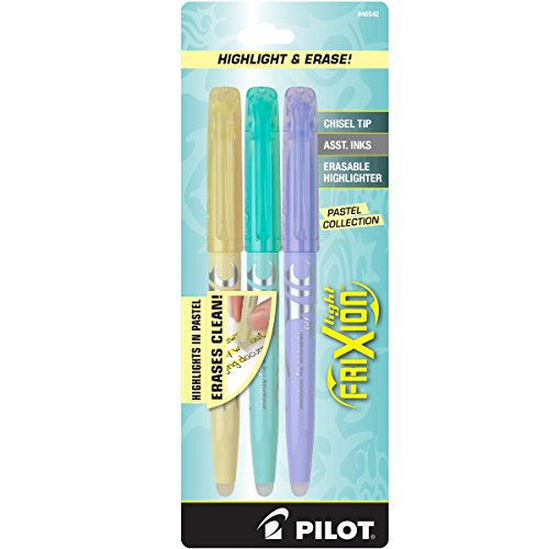 Pilot FriXion Light Pastel Collection Erasable Highlighters, Chisel Tip, 3-Pack, Colors May Vary (46542)