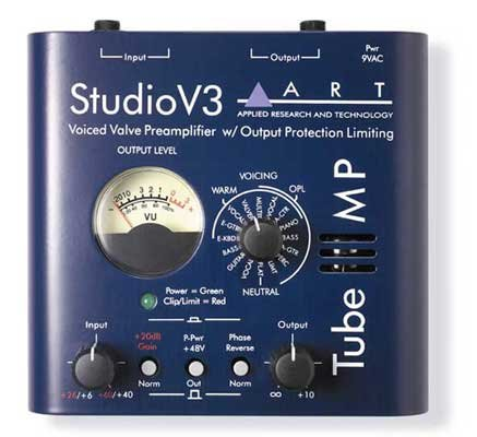 ART TubeMPSTV3 Variable Valve Voicing Tube Mic Preamp With Limiter (Best Small Tube Amp For Recording)