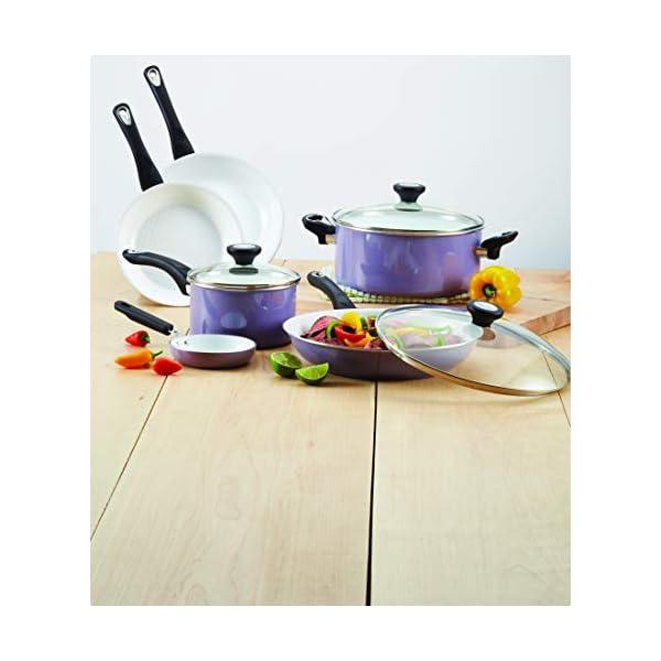 Farberware Ceramic Nonstick Cookware Pots and Pans Set, 12 Piece, Lavender 4