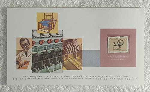 Spinning Wheel - Postage Stamp (Canada, 1985) & Art Panel - The History of Science & Invention - Franklin Mint (Limited Edition, 1986) - Fabric, Cloth, Saxony Wheel