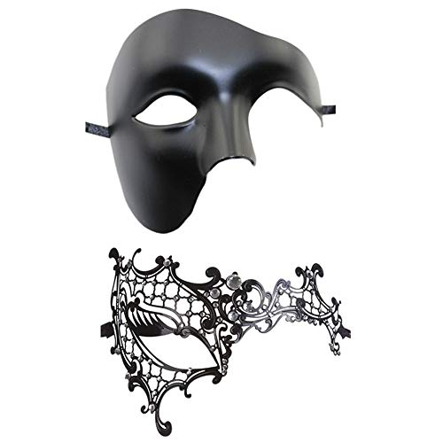 Rehoty Masquerade Mask for Couples, Women Men Venetian Mardi Gras Halloween Christmas Party Couple Masquerade Mask (Black+Black 6)]()