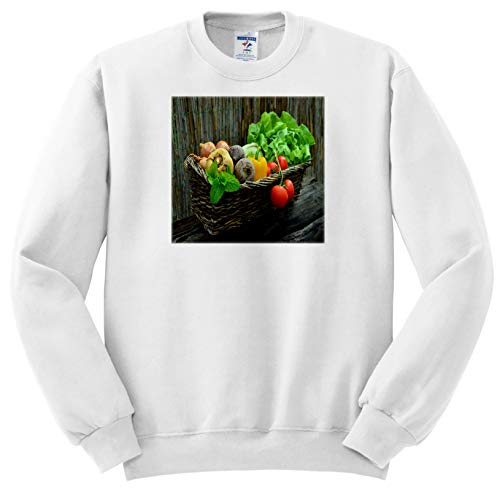 (Lens Art by Florene - Food and Beverage - Image of Country Basket with Farm Fresh Vegetables - Sweatshirts - Adult Sweatshirt Small (ss_295139_1))