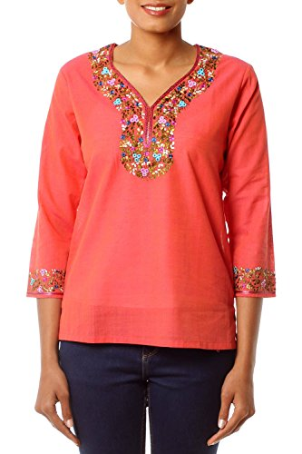 NOVICA Orange Cotton Blouse, Tangerine Floral' (Blouse Tangerine Floral)