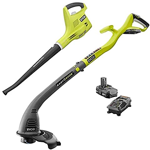 Ryobi ONE+ 18-Volt Lithium-Ion Cordless Trimmer/Edger and Blower/Sweeper Combo Kit - Battery and Charger (Ryobi P108 Charger)
