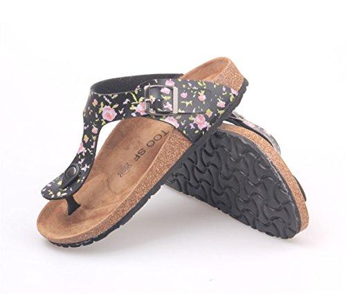 Leather Cork LIVEINU Footbed PU Women's Buckle Sandal Flat Strap T Black Sandals Casual Flops Thong Flip Slide gx4xOpInw