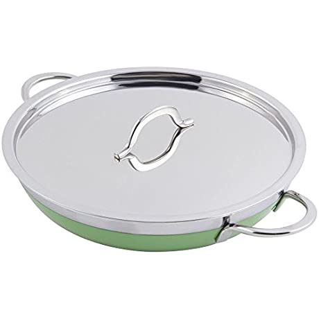 TableTop King60304 Green Classic Country French Collection 1 Qt 20 Oz Saute Pan Skillet With Cover And Double Handles