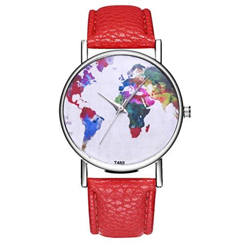Roumin Men's and Women's Watches, Mesh Watch Quartz Watch Exquisite Watch(Red)