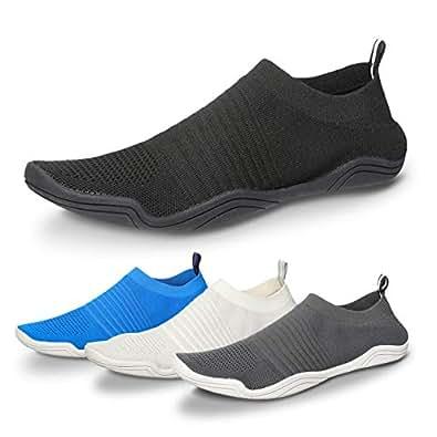 Camfosy Men Women Water Shoes Quick Dry Barefoot Aqua Socks Swim Shoes Pool Beach Walking Running Sneakers Black Size: 6 Women/5 Men