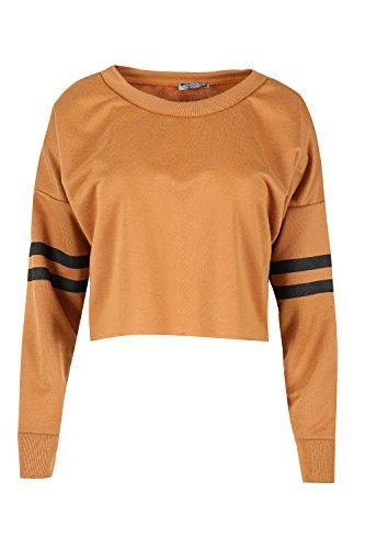 Be Jealous Women's Sport Stripe Long Sleeve Oversized Sweatshirt Fleece Crop Top for cheap