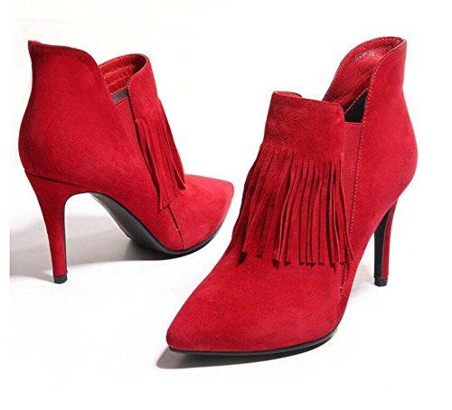 Tassel zapatos Seude de tamaño botas botas Zipper pie dedo zapatos Ol 9cm desnudas botas corto Scarpin Chelsea de mujeres Eu Martin puntiagudo botas 32 de vestir del 44 Rojo puro botas boda color WqYwU1ap