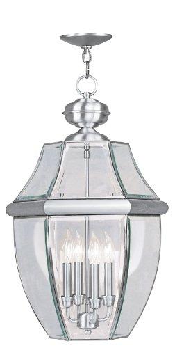 Livex Lighting 2357-91 Monterey 4-Light Outdoor Hanging Lantern, Brushed (Monterey Transitional Chandelier)