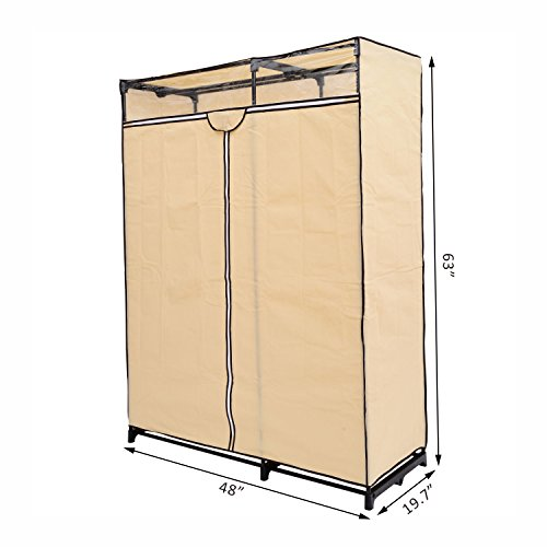 Homcom 48 Quot Cream Portable Wardrobe Clothes Organizer