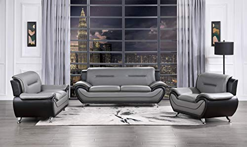 ghdonat.com Lexicon 3-Piece Manual Reclining Sofa Set Charcoal ...