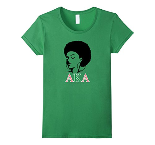 Aka Green (Womens AKA T-Shirt Beautiful Woman, Pink and Green Large Grass)