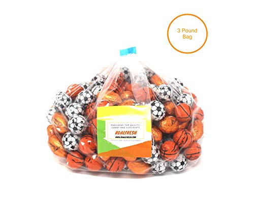 Assorted Chocolate Sports Balls Candy Baseballs Basketball Soccer Football Candy (3 Pounds) ()