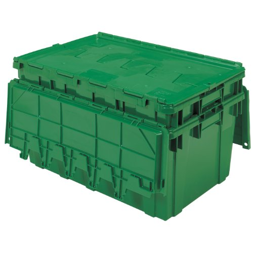 Storage Lid Attached (Buckhorn AR2717120204000 Attached Lid Flip Top Storage and Distribution Plastic Tote, 27-Inch x 17-Inch x 12-Inch, Green)