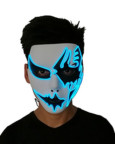 Cosplay Mask Frightening Led EL Wire Light Up Mask for Festival Parties Carnival Makeup Party