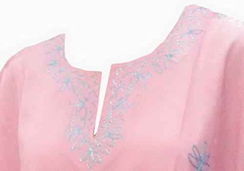La Leela Damen alle in 1 leichte, weiche Rayon Tunika Abend casual dress Bikini Kimono Badebekleidung Lounge Bademode verschleiern gestickt plus kurze hellrosa lässig Nacht Kaftan