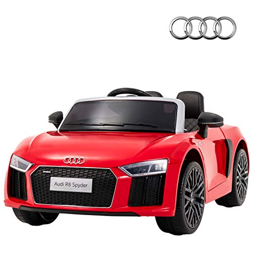 - Uenjoy 12V Licensed Audi R8 Ride On Cars Electric Cars Motorized Vehicles for Kids, RC Remote Control, LED Lights, Music, Horn, Safety Doors, Red