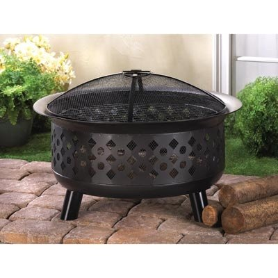 Home Patio Fire Pit w/ Cover Propane Outdoor Garden Backyard Table Accessories Ring Grill Screen Tool Gas Wood Burning (Pagoda Fire Pit)