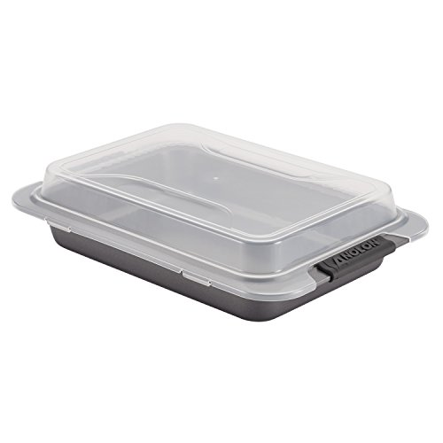 Anolon Advanced Nonstick Bakeware 9-Inch x 13-Inch Covered Cake Pan, Gray with Silicone Grips -  52837