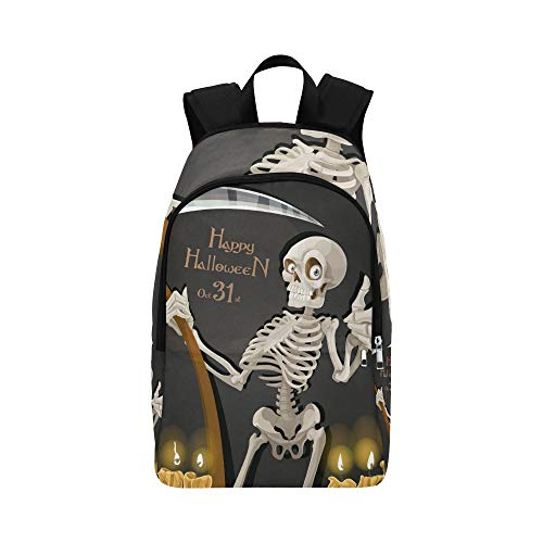 Death Skeleton Scythe Halloween Party Invitation Casual Daypack Travel Bag College School Backpack for Mens and Women ()
