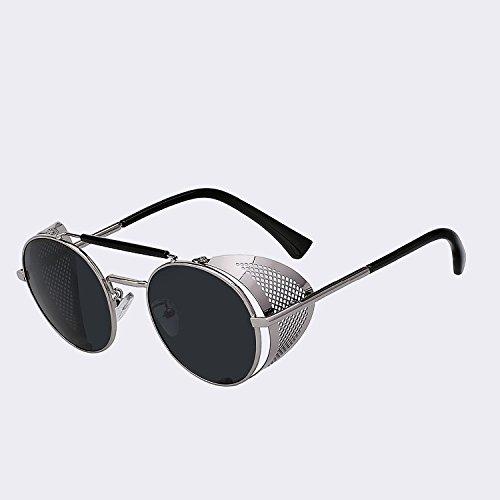 de w Silver de sol moda lujo negro TIANLIANG04 black gafas de UV400 gafas W Mujer Retro metal Hombre Hombre plata gafas Vintage de de sol wXxxO5B