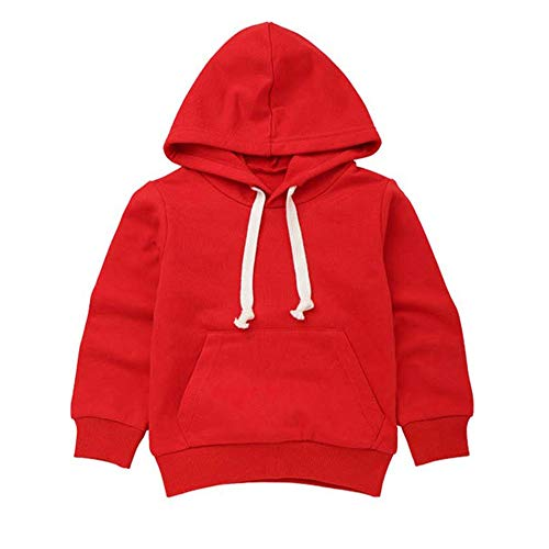 Baby Toddler Boys Girls Fall Winter Clothes Hoodie Sweatshirts for 2-7 Years Old,Kids Solid Pocket Pullover Tops (2-3 Years Old, Red)