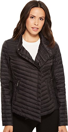 MICHAEL Michael Kors Womens Asymmetric Packable M822548F Black SM One Size - Michael Kors Womens Coats