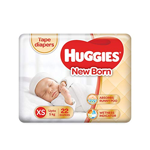 Huggies Tape Diapers New Born Baby XS Size 22 Pieces