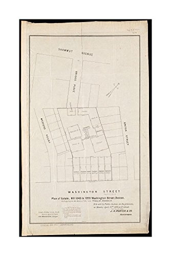 1870 Map Boston Plan of estate, nos 1043 to 1059 Washington Street, Boston, belonging to heirs of late William Brigham: to be sold by public auction, on premises, on Monday - Boston Street Map Washington