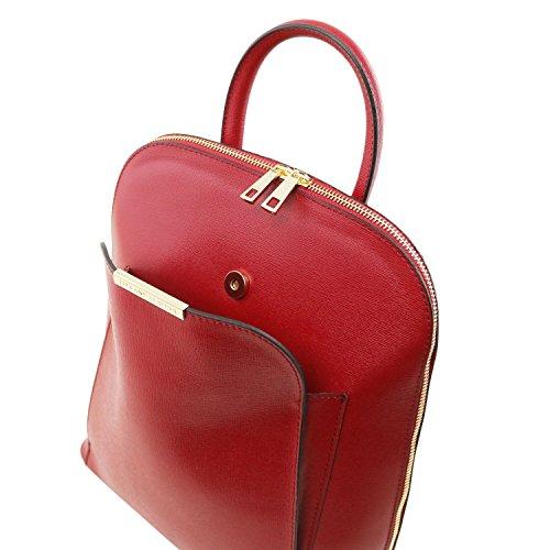 nero Donna Bag Tl Rosso Leather Pelle Tuscany Zaino Saffiano In Tl141631 wOzFITqn