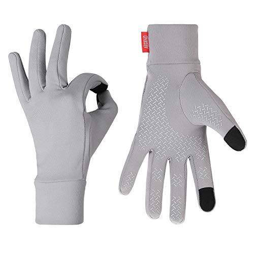 Aegend Running Gloves Touch Screen Lightweight Warm Gloves Mittens Liners, Gray, Small ()