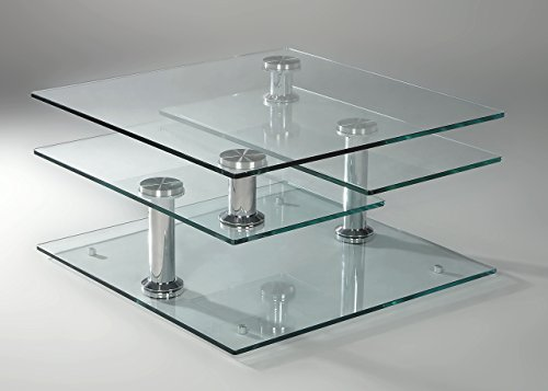 Square Glass Cocktail Table (Milan LILLYANA-CT Lillyana Clear/Chrome Square Glass Motion Cocktail Table)