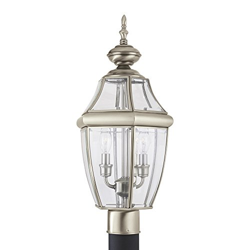 Sea Gull Lighting 8229-965 Lancaster Two-Light Outdoor Post Lantern with Clear Curved Beveled Glass Panels, Antique Brushed Nickel Finish (Antique Lantern Silver)