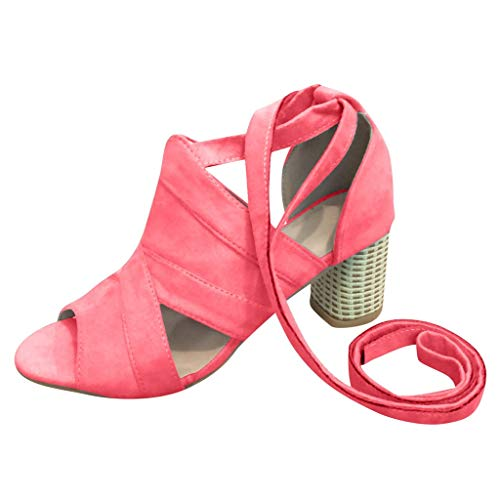 Londony ✡ Women's Block Open Toe Ankle Strap Heeled Sandals Cutout Gladiator Ankle Strap Platform Block Heel Sandals Red